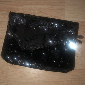Black and Silver Sequins Clutch
